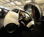 Created by Croatian industrialist Vjekoslav Majetic, the Doking XD City Car debuted at the LA Auto Show last year. Coming in at only nine feet long, this dual-winged car can sit three people (one in the front, two in the back), and give the Smart car a run for its money when looking for tiny parking spots.